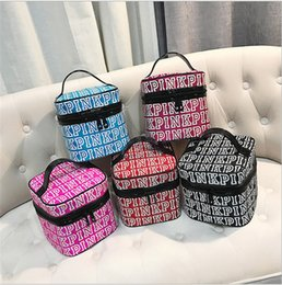 Wholesale Pink Storage Case - Ladies Love Pink Letter Cosmetic Make Up Bag Tran Case Double Zipper Double Zipper Storage Wash Bag Cases Multifunction Pouch for Women