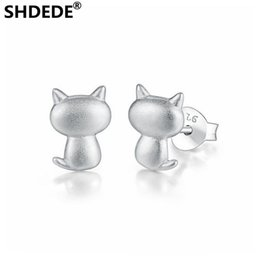 Niedliche kätzchenzubehör online-SHDEDE Cartoon Charakter niedlichen Kätzchen S925 reinem Silber handgemachten Ohrringe Stud Zubehör, um Freundin Geburtstagsgeschenk zu geben