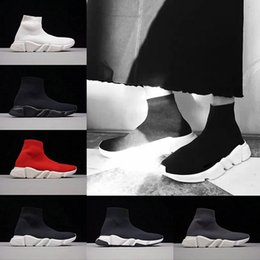 Wholesale Cheap Flat Ladies Shoes - With Box Luxury Speed Sock Running Casual shoes For men women Lady Boys Triple Black white Red Classical Cheap sports sneakers US 5-11