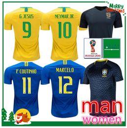 Wholesale shirt white - 2018 Brazil World Cup soccer jersey NEYMAR JR COUTINHO PAULINHO MARCELO G JESUS 2019 Brasil home away man and women Training football shirt