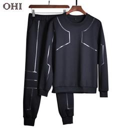 Wholesale Tracksuits Bottoms - Ohi M06 Male Long Sleeves Pants Bottoming Shirt Tracksuit Men Two Piece Sportsuit Sweatshirt Men Sets Underwear For Men