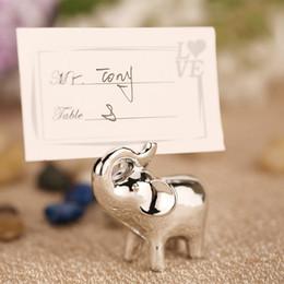 Prata do elefante on-line-1 pc de Prata Do Bebê Elefante Lugar Titular do Cartão de Mesa Número Foto Clipe De Armazenamento Para Festa de Casamento Decorações de Mesa Suprimentos Favores Presentes