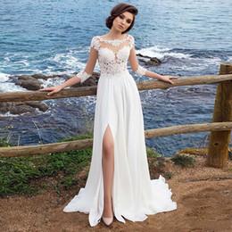 Argentina Vestido de novia Apliques de gasa de playa Vestido simple Una línea Lado de corte Vestido de Novia Playa Vestido de novia Vestido de novia de manga tres cuartos Suministro