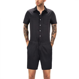 34baf921210 casual male xl overalls Promo Codes - FDWERYNH Men One Piece Romper Casual  Button Jumpsuit Overalls