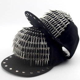 men spiked hat Promo Codes - SUOGRY Adult Hip Hop PUNK Rock Long Spike Studs Rivets Snapback Caps Men Bboy Cool Flat Baseball Hats