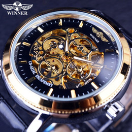 Скелет победителя случая черный онлайн-Winner 4 Ring Designer Transparent Case Back Black Golden Skeleton Mens Watches Top  Mechanical Watch Men Wristwatch