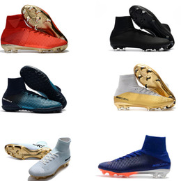 low priced 02859 f11be 2018 High Top Men Kids Soccer Shoes Neymar Soccer Mercurial Superfly V CR7  Vitórias Women Football Boots Ronaldo Youth Soccer Cleats discount kids cr7  gold