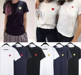 Wholesale Letter Couple Shirts - Chao brand play leisure pure cotton small red heart short sleeved women's pure color black heart love male white T-shirt couple half sleeves
