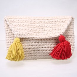 Wholesale Korea Fashion Winter Dress - Korea Style Knitting Women Bag Fashion Tassels Day Clutch Bag Winter Handbag Bolsa Feminina Fresh Girls Purse Female Bag