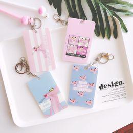 housses en plastique id Promotion Animal de bande dessinée porte-clés en plastique porte-clés couvercle de la carte d'identité porte-clés belle rose sac de la panthère pendentif ornement suspendu Q673