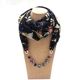 Bijoux décoratifs écharpe collier en mousseline de soie perles en résine pendentif écharpe femme foulards frais printemps / automne ? partir de fabricateur