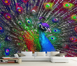 Wholesale Peacock Screen - 3D Colorful Peacock Open Screen Photo Wallpaper Murals for Living Room BedroomWall Decor Painting Modern Abstract Art Wall Mural