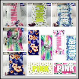Wholesale flower families - 46 Styles 140*70cm Pink Letter Printed Beach Towels Fitness Towel Leopard Flower Bath Towel Swimwear Bathroom Towels CCA10052 30pcs