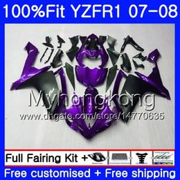 kit carenado yamaha r1 morado Rebajas Cuerpo de inyección para YAMAHA YZF R 1 YZF-1000 YZF-R1 07 08 227HM.35 YZF 1000 YZFR1 Purple black hot 07 08 YZF1000 YZF R1 2007 2008 Fairing Kit