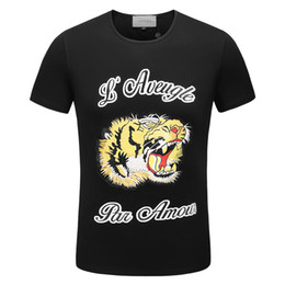 Wholesale graphic designs shirts - 2018 Italy New Top Casual Short tiger head 3D Print Dog Men Design o collar T graphic Shirt Cotton Tees t-shirt fashion man clothes cool g08