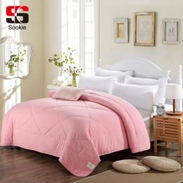Edredón rosa sólido online-Sookie Summer Edredón Color sólido Aire acondicionado Edredón Rosa Verde Gris Manta de tiro fino Edredón suave para cama