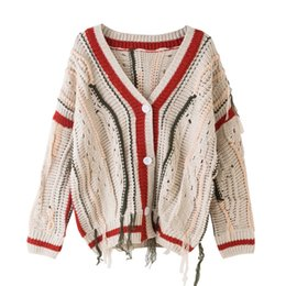 a783c756d HZLLHX Autumn winter news women tassel hollow design long-sleeve V-neck  sweater ladies casual cardigan fall knit outwear top