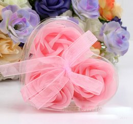 Wholesale paper soap heart - 3pcs box Handmade Rose Soap with Heart Shape Gift Box Simulation Flower Paper Flower Soap Valentines Day Birthday Party Gifts