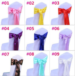 Wholesale Decoration Ribbon Bow - Wedding Chair Cover Sash Bow Tie Ribbon Decoration Wedding Party Supplies 16 Color for Choose c176
