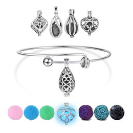 Wholesale Young Living - 1pc Round Antique Vintage DIY Charm Aromatherapy Bracelets Perfume Young Living Essential Oil Diffuser Necklace Locket Bangles