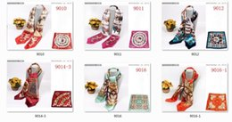 Wholesale Silk Satin Shawl - New Colors Big 90cm X 90cm Imitation Silk Scarves Vintage And Fashion Printing Pattern Square Scarf Wrap For Women Stain Towel
