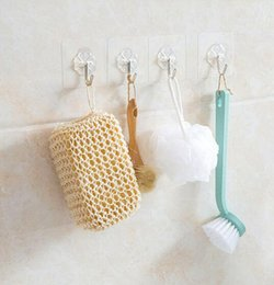 Wholesale Bathroom Hangers Towels - Bathroom Sticker Hook 6*6cm Transparent Plastic Strong Paste Sticker Towel Hanger Holder Hooks Bathroom Tools OOA4724