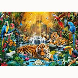 2019 lotus lumière bouddha 5D Diy diamond painting, broderie diamant, décoration de la maison, lumière dorée, mosaïque, peinture strass, étang de lotus, tigre, lotus, Bouddha promotion lotus lumière bouddha