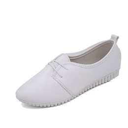 Wholesale Doug Shoes Women - Lady Pu Leather Doug Shoes Size 35-39 Women Flat Casual England Shoes Fashion Pointed Toe Flats Lace-Up Ladies Crocodile Pattern