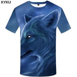Wholesale Japanese Slimming Shirt - KYKU Brand Wolf T shirt Blue shirts Animal Clothes Tops Tshirt Clothing Men Rock Male Slim Japanese