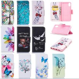 Раскрашенные Цветы Бабочка Жираф Чехол Не Прикасайтесь PU Кожаный Чехол Стенд Бумажник для iphone XS Max 8 Plus Galaxy S9 Huawei Mate 20 от