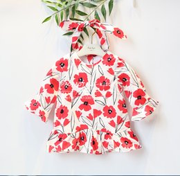 Wholesale Coloured Flower Girl Dresses - INS 2018 NEW arrival Hot selling spring Girls long Sleeve cotton dress baby kids Coloured Romantic flower printed Lovely collar Dress