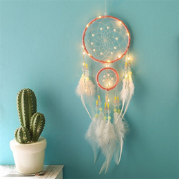 girls room accessories 2018 - LED Pink Feather Net Crystal Wind Chime Hanging Home Decoration Pendant Girl Originality Birthday Gift Party Accessories 14 8xr bb