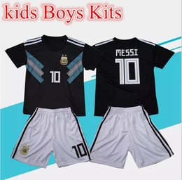 best boys gifts Promo Codes - 2018 Kids kit Messi Argentina away Soccer Jersey 2018 world cup best gift youth boy Child Argentina Home Blue soccer Shirt Aguero Di Maria