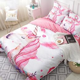 2019 cama de la muchacha tamaño de la reina Juego de sábanas de dibujos animados Unicornio Floral Pink Girl Funda nórdica linda Sets 3PCS Juego de sábanas completo Queen Twin King Size Edredón Niñas Beddings rebajas cama de la muchacha tamaño de la reina