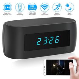 2020 câmera de visualização ao vivo 1080 P Wifi Câmera Relógio Despertador Night Vision Camera Relógio HD Nanny Cam Câmera de Segurança Em Casa Câmeras Sem Fio Suporte APP Remote Live View câmera de visualização ao vivo barato