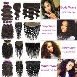 Wholesale Brazilian Natural Wave Hair Ombre - 8a Mink Brazilian Virgin Hair Bundles with Closure Remy Human Hair Extensions Body Wave Hair Weaves 13x4 Lace Frontal Closure with 3 Bundles