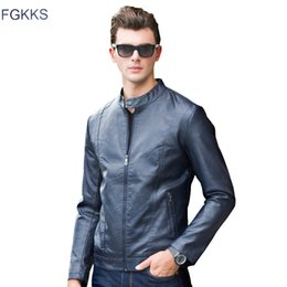 Wholesale Thin Leather Motorcycle Jacket - Wholesale- FGKKS 2017 Winter Homme Thick Leather Jackets Men New Fashion Faux Leather Jackets Tops Cool Motorcycle Outwear Man Warm Coat