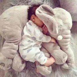 Jouets pour bébé en peluche en Ligne-Une pièce mignonne 5 couleurs éléphant en peluche jouet avec oreillers à long nez PP coton bourré bébé coussins doux éléphants jouets 60 cm