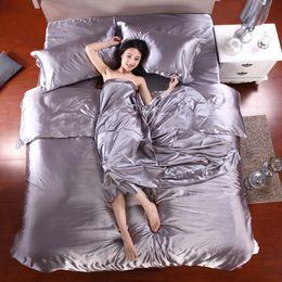 Wholesale Pure Silk Duvet Cover - HOT! 100% pure satin silk bedding set,Home Textile Full Queen King size bed sheet,bedclothes,duvet cover flat sheet pillowcases