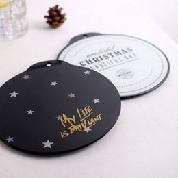 Luxe noir blanc lettre Star verre trempé boisson Coaster tasse de café Tapis de thé - Ronde napperons Home Decor ? partir de fabricateur
