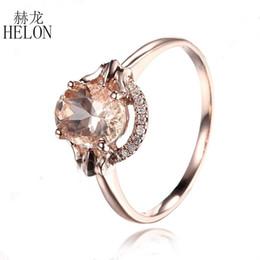 2019 ovale diamanten verlobungsringe HELON Diamonds Ring für Frauen Romantic Solid 14k Rose Gold fehlerlos Oval 1.3CT Morganit Verlobungsring Exquisite edlen Schmuck günstig ovale diamanten verlobungsringe
