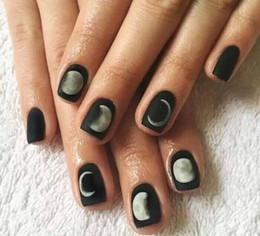 Harajuku nagel online-24 stücke schwarz matt gefühl gel polish nail art tipps Moon Eclipse Harajuku stil harz Falsche Gefälschte Nagelspitzen dekoration Mit kleber