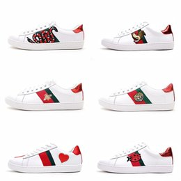 Wholesale Red Printing - Mens designer luxury shoes Casual Shoes white women sneakers good embroidery bee cock tiger dog fruit on the side with OG box