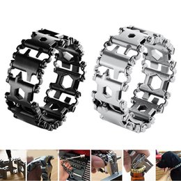 Wholesale Sliver Bracelets - LeatherMan Outdoor Tool Bracelet Multi Stainless Steel Sliver or Black Gift Hiking Camping outdoor Fashion Sports Bracelet M450 FFA035