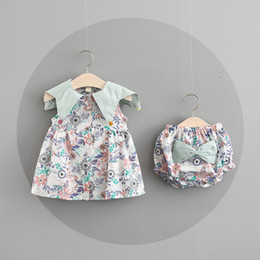 Wholesale Baby Blue Chiffon Dresses - INS new Summer girls dress sleeveless flower design O-neck dress girl's elegant dress + short 100% cotton Baby & kids clothing