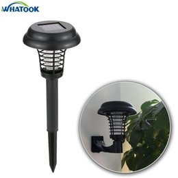 Wholesale Solar Mosquito Killer Lamp - Outdoor UV lamp Solar Moqusito killer Light 2 Modes Mosquito Insect Pest Bug Zapper Repeller Lampen Waterproof Wall Lights *24