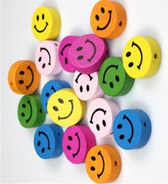 2019 caras de cuentas de madera 100 unids Colores Mezclados SMILEY FACE Cuentas de Madera Artesanía / Niños Fabricación de Joyas para pulsera 16 MM caras de cuentas de madera baratos