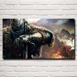 Wholesale video arts - FOOCAME Dark Souls Warrior Sword Video Games Art Silk Poster Print Home Wall Decor Painting 11x20 16x29 20x36 Inches