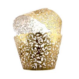 Vid Cupcake Holders Filigree Vine Diseñado Envoltura Wrapper Wraps Cupcake Muffin Soportes de papel - 50pcs (Oro Brillante) desde fabricantes