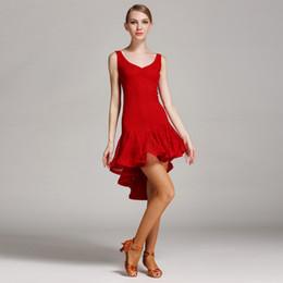 trajes de baile azul blanco rojo Rebajas Vestido de baile latino de nueva moda de mujer Vestido de baile latino de baile de baile de salón de baile de tango Rumba Chacha Dance Competition B-6044